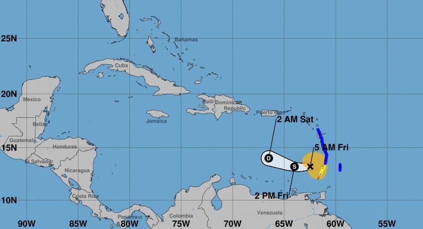 Prevision de trajectoire de la tempête KIRK ©NHC