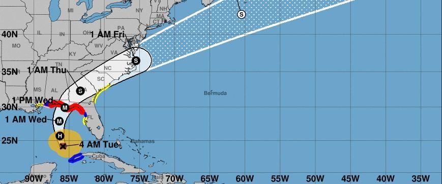 Prévision trajectoire ouragan MICHAEL