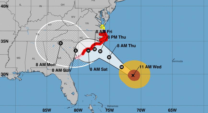 Prévisions trajectoire et intensité ouragan Florence ©NHC