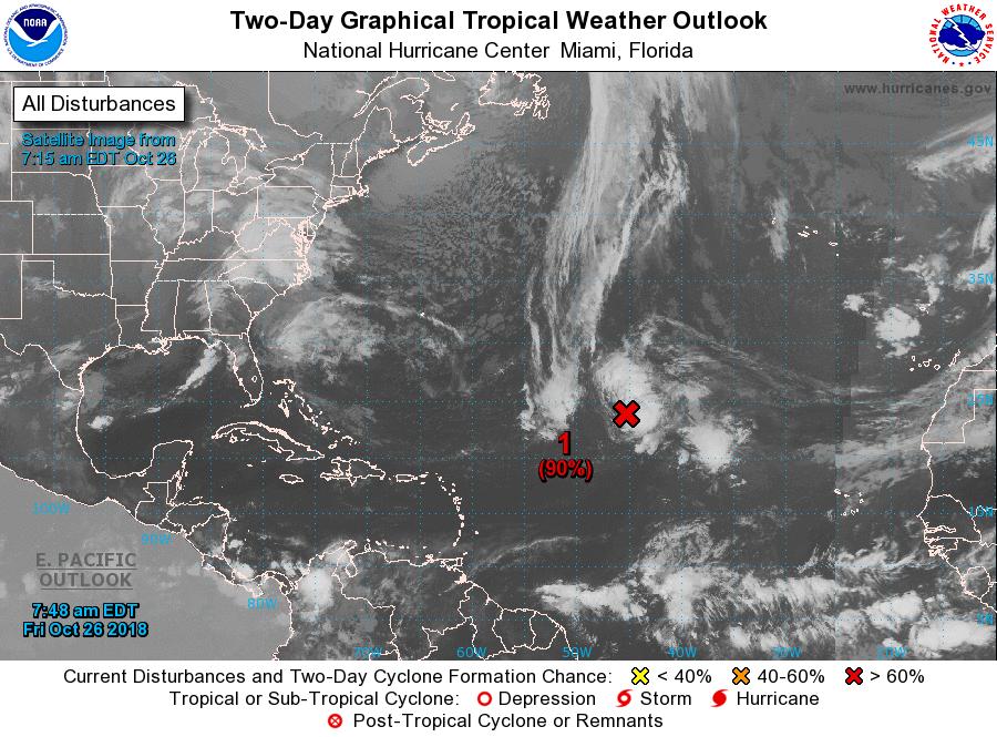 Risque de formation d'une tempête au nord-est des Petites Antilles
