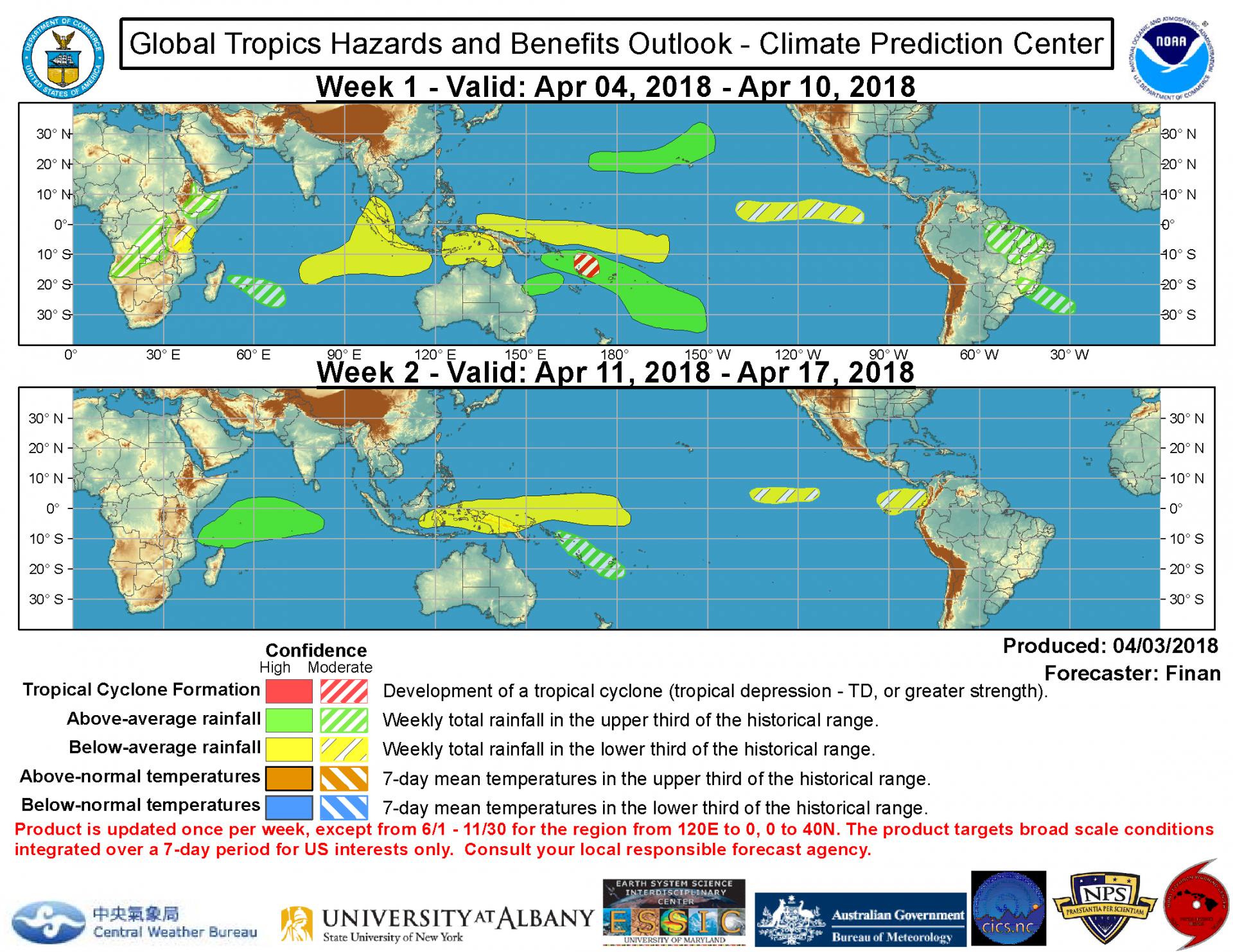Perspective d'activité cyclonique et pluvieuse intra-saisonnière de la NOAA