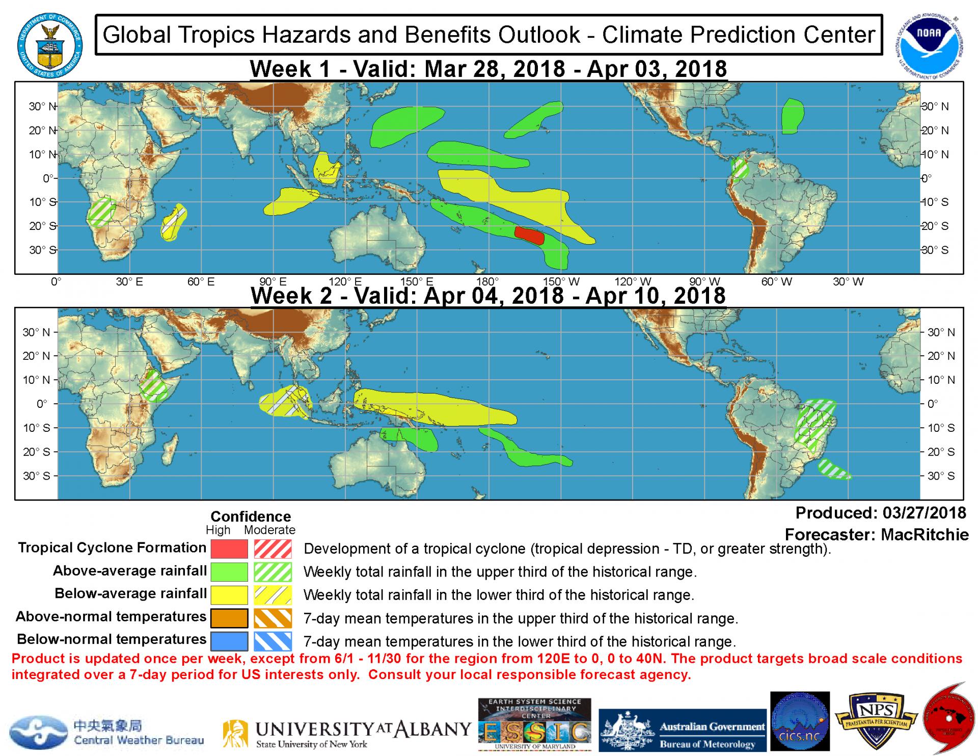 Carte de perspective d'activité cyclonique et précipitation sur 2 semaines ©NOAA