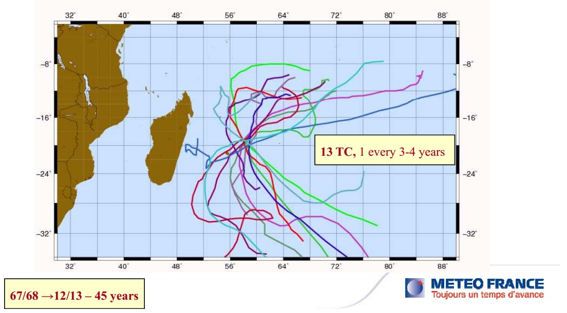 13 cyclones en 45 ans à Maurice
