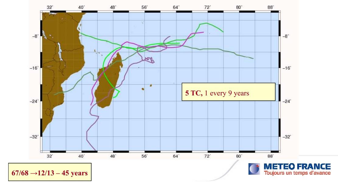 5 cyclones en 45 ans à Agalega