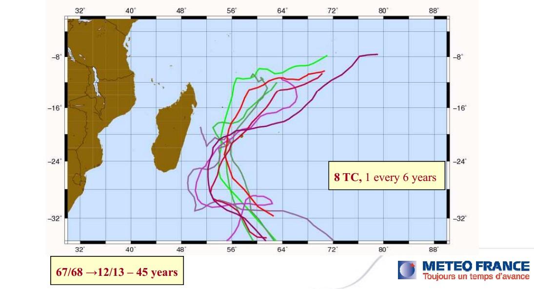 8 cyclones en 45 ans à la Réunion