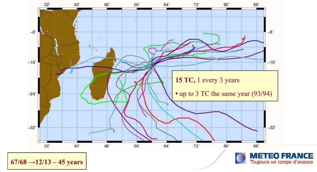 15 cyclones en 45 ans à St-Brandon
