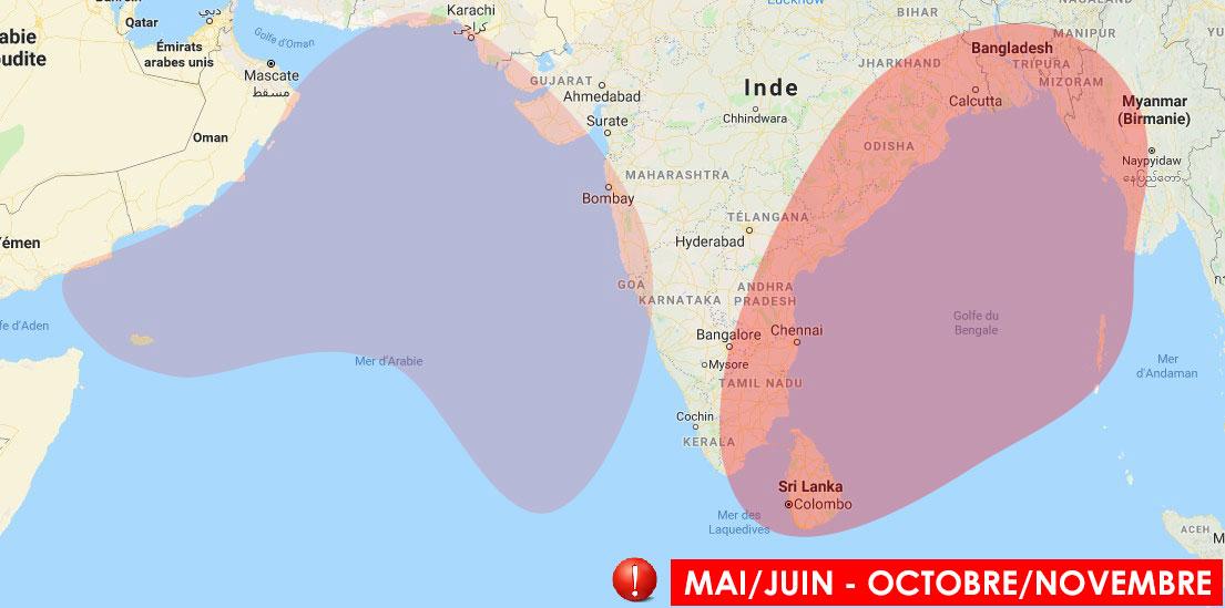 Zone à risque cyclone dans l'océan indien nord