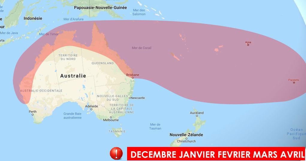 Zone à risque dans le pacifique sud et l'océan indien sud-est