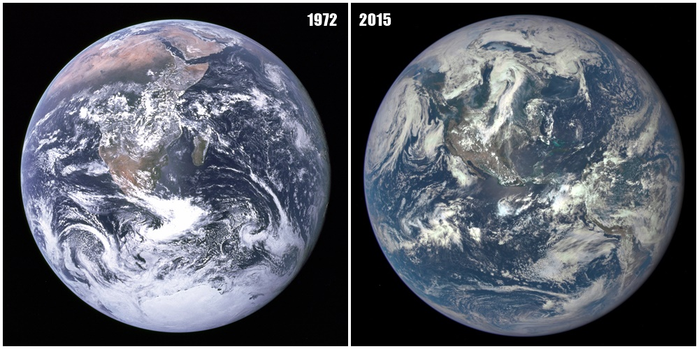 La terre en 1972 et 2015