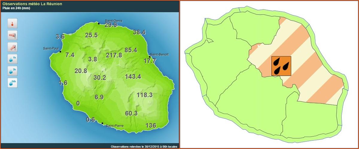 Pluviométrie sur 24H et carte de vigilance