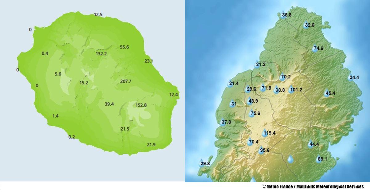 Précipitation à la Réunion et Maurice