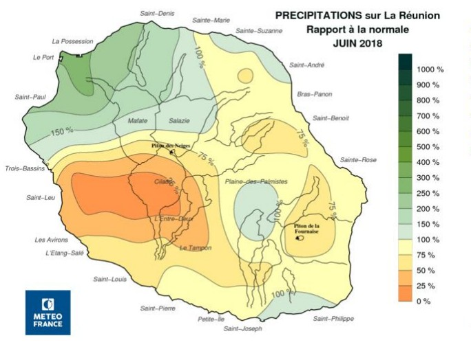 Précipitations sur la Réunion durant le mois de juin 2018 ©Météo France - cycloneoi.com