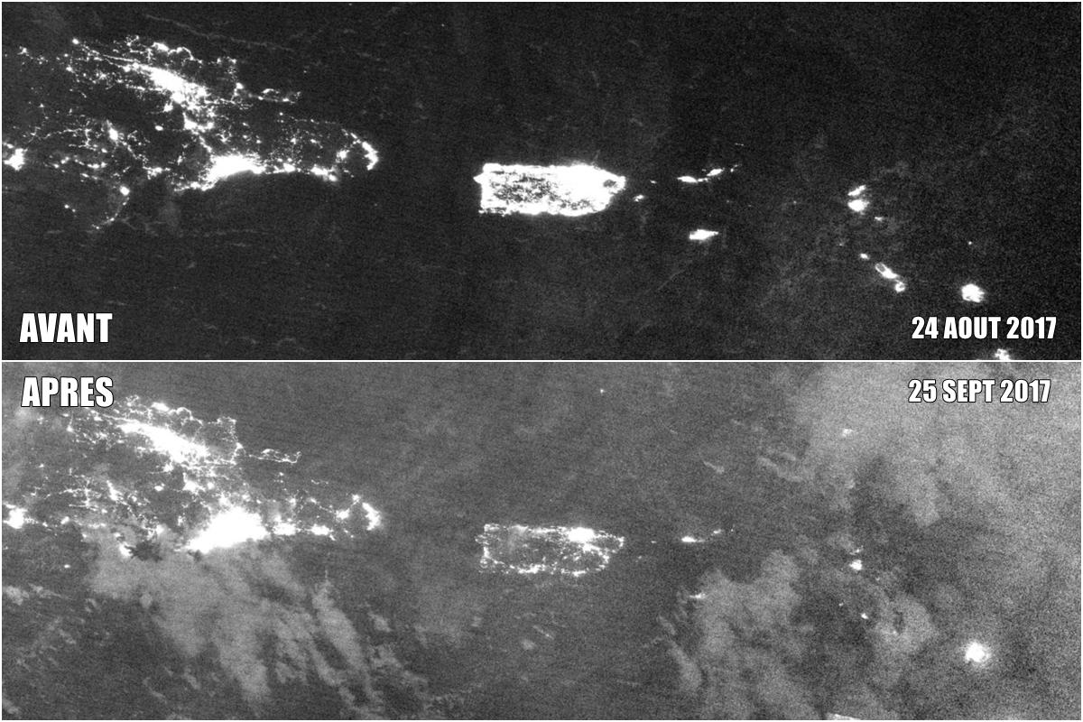 Porto Rico avant et après l'ouragan MARIA de nuit par le satellite SUOMI NPP (EOSDIS)