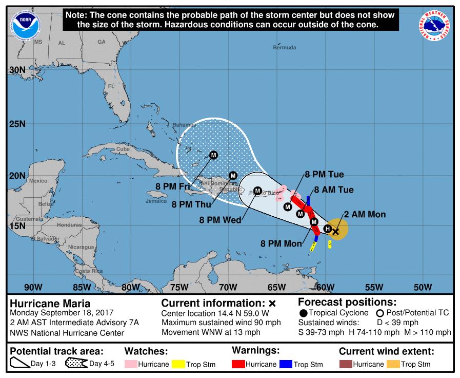 Prevision ouragan maria nhc à 0600utc