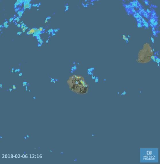 Image radar de Météo France du 06-02/2018 à 12h16 (heure Réunion)