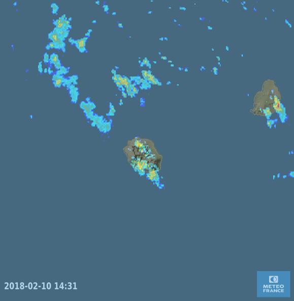 Image radar Réunion du 10/02/2018 à 14h loc (Météo France)