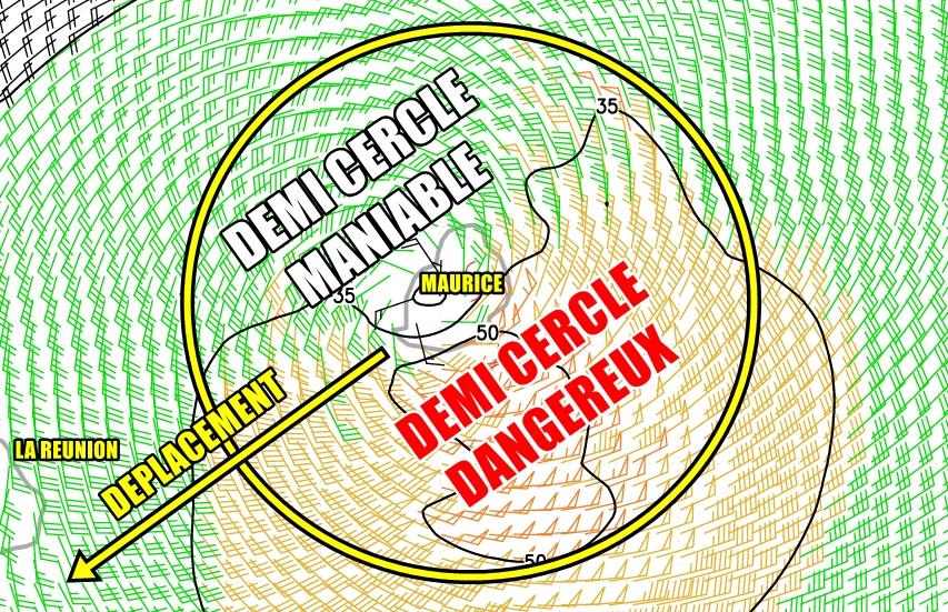 Représentation du demi cercle maniable et dangereux de BERGUITTA le 18 janvier 2018 à 06utc (RAMMB)