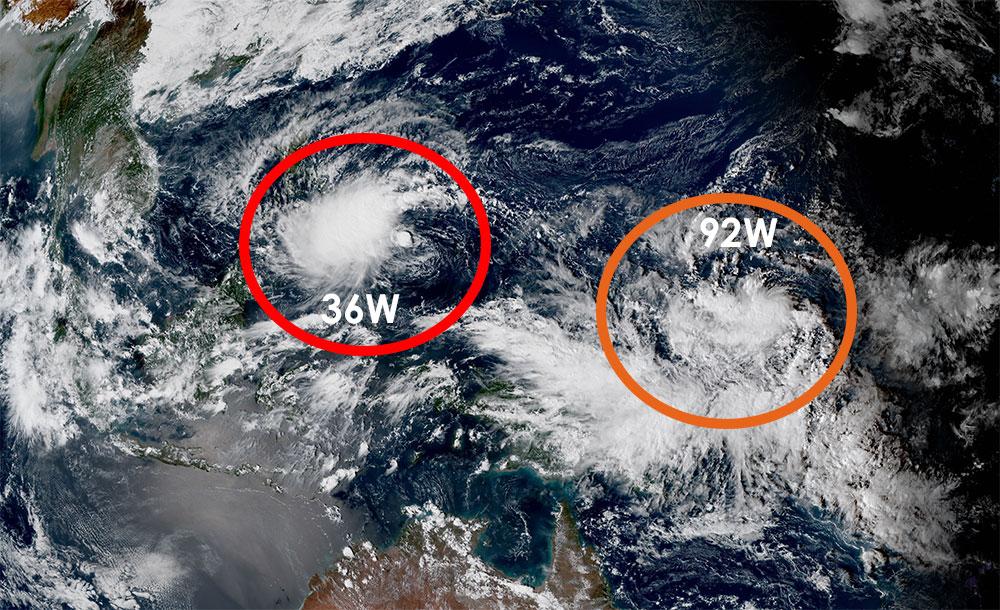 Depression tropicale 36W et zone suspecte 92W