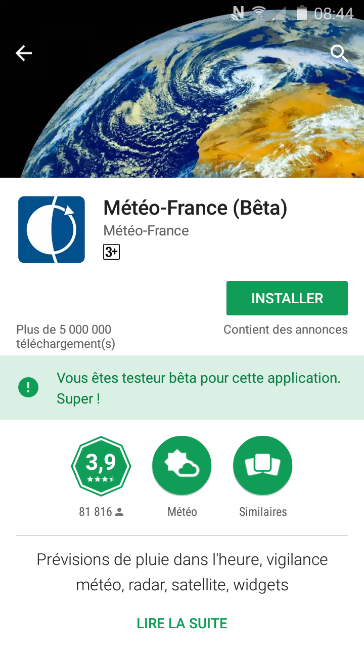 Application Météo France sur google play