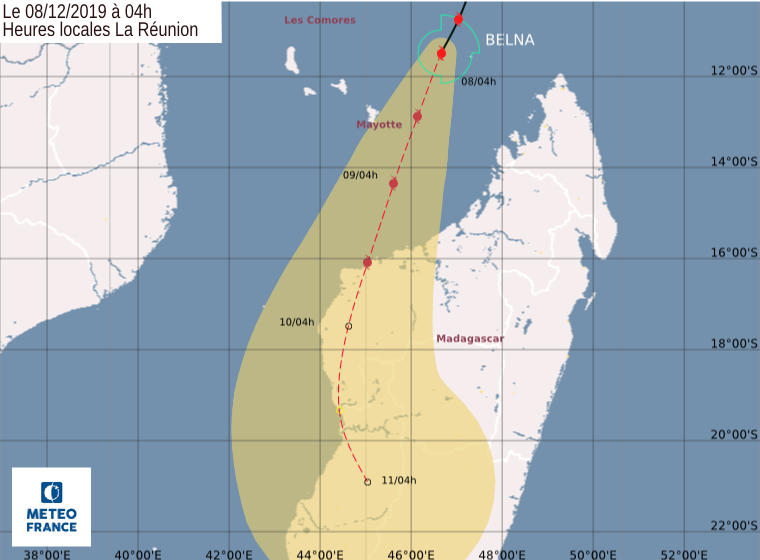 trajectoire cyclone belna