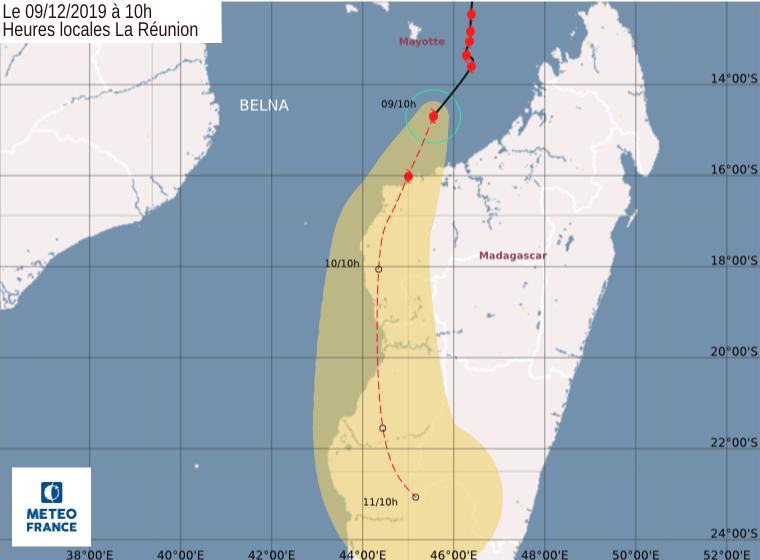 prevision trajectoire et intensité cyclone belna