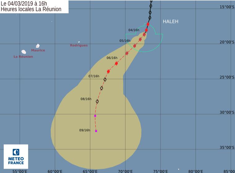 trajectoire cyclone intense haleh
