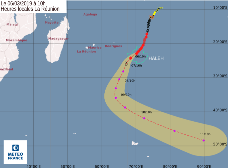 prevision trajectoire cyclone haleh