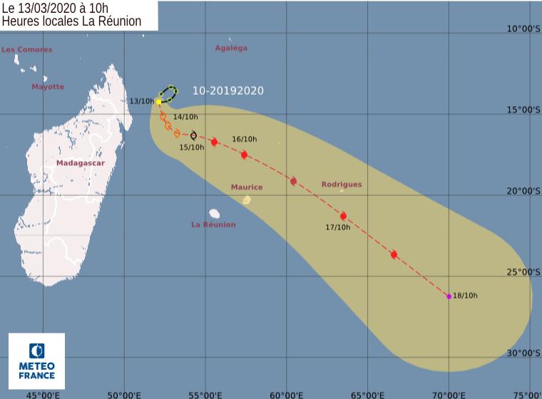 trajectoire tempête tropicale Herold