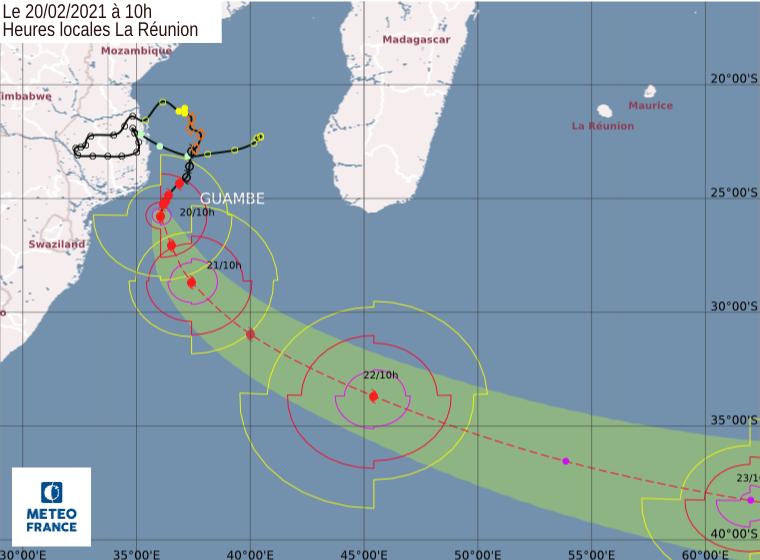 trajectoire cyclone guambe
