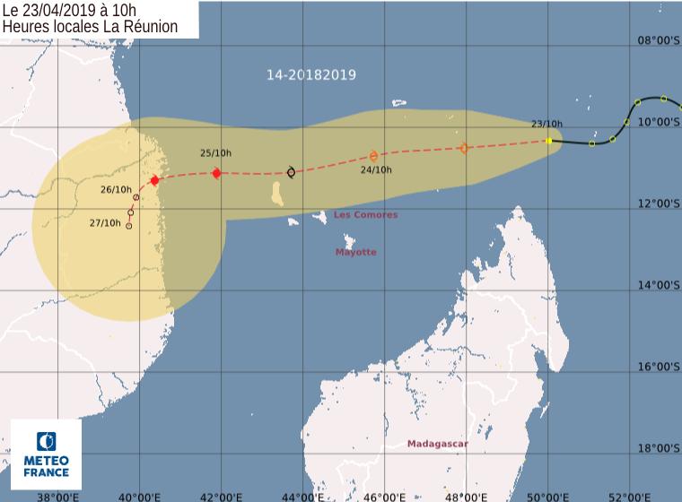 Prévision trajectoire intensité dépression tropicale N°14