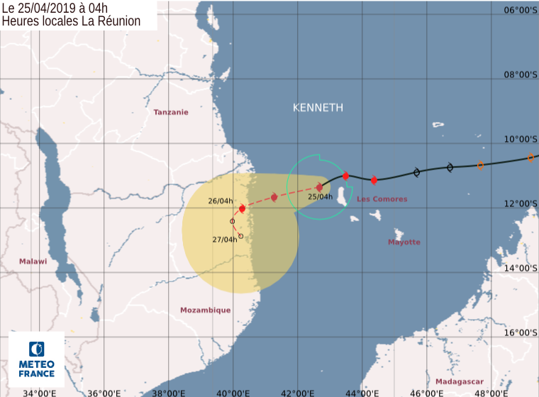 trajectoire cyclone KENNETH