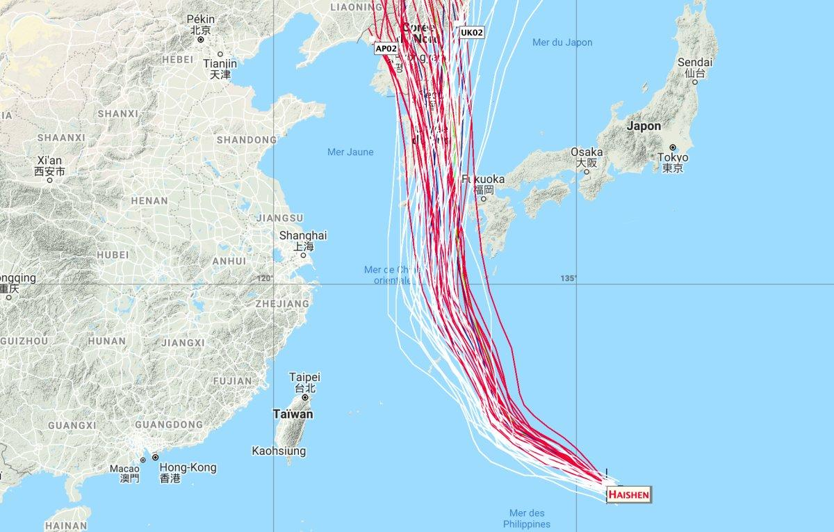 Track super typhoon haishen
