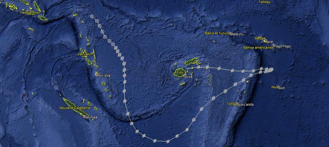 Trajectoire de WINSTON du 8 au 20 Fevrier (JTWC)