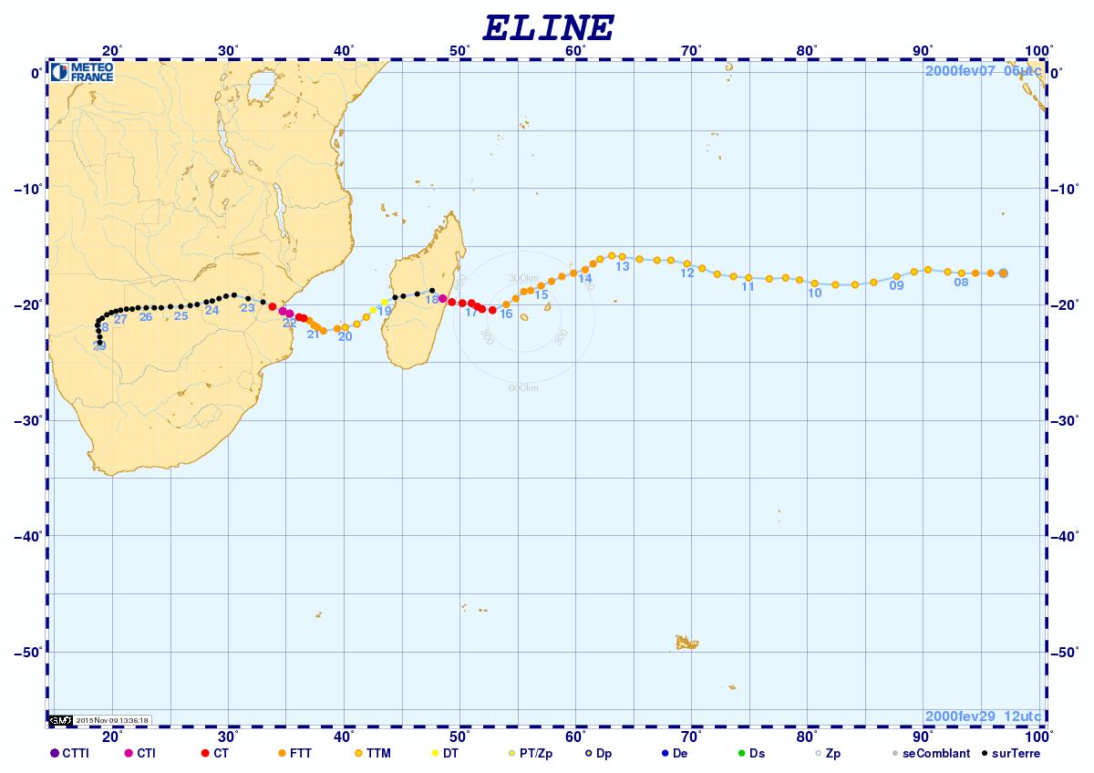 Trajectoire cyclone leon eline