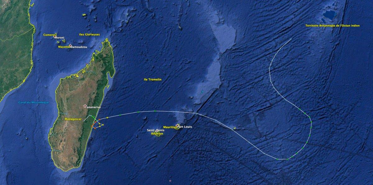 Trajectoire cyclone edwige