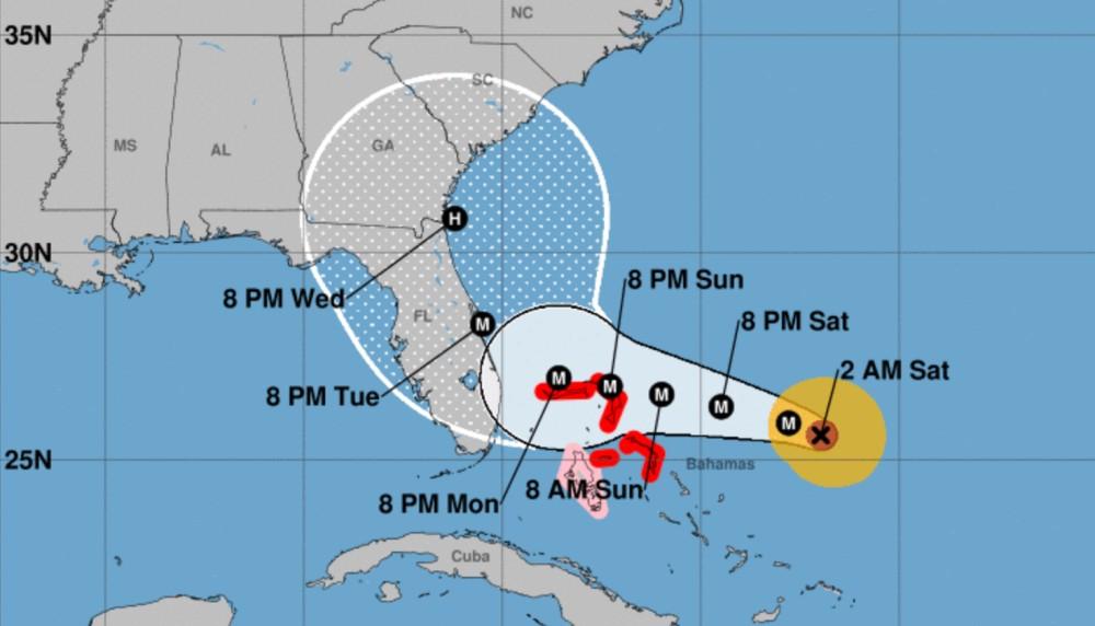 Trajectoire ouragan dorian