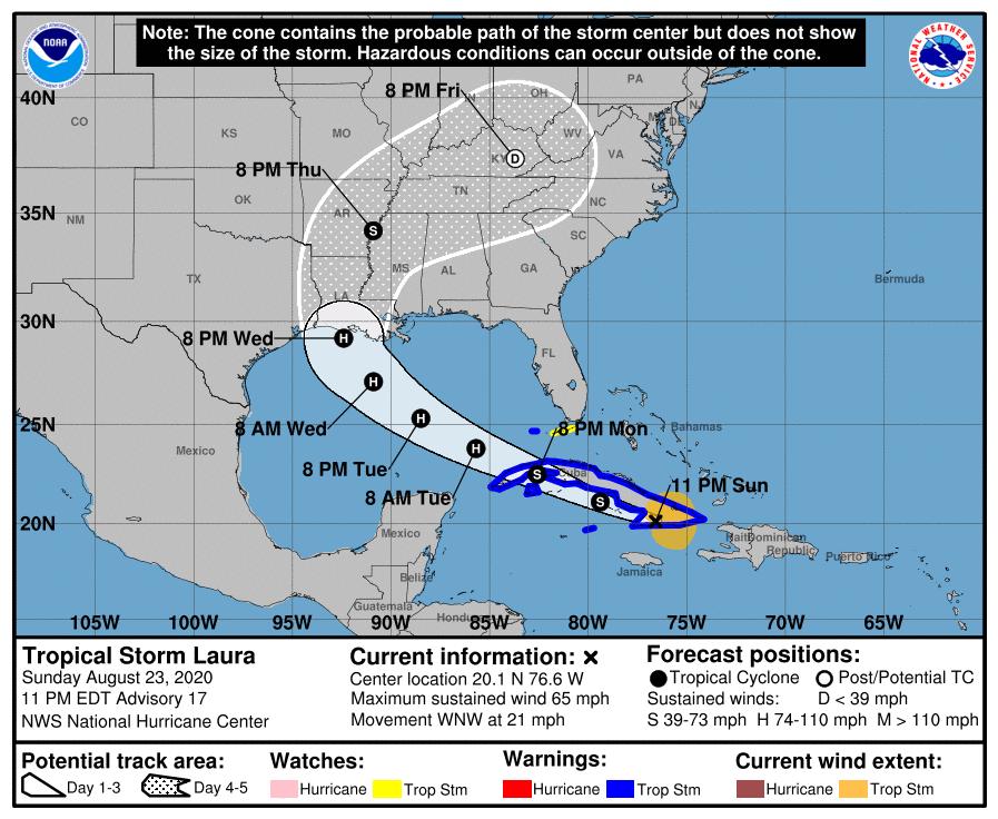 Trajectoire ouragan laura