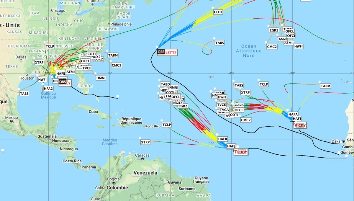 Trajectoire saison ouragan 2020