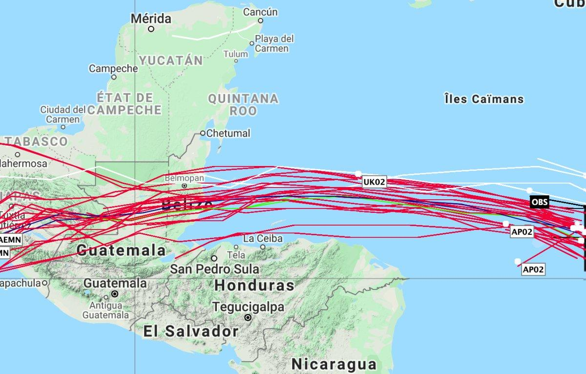 Trajectoire tropical cyclone nana
