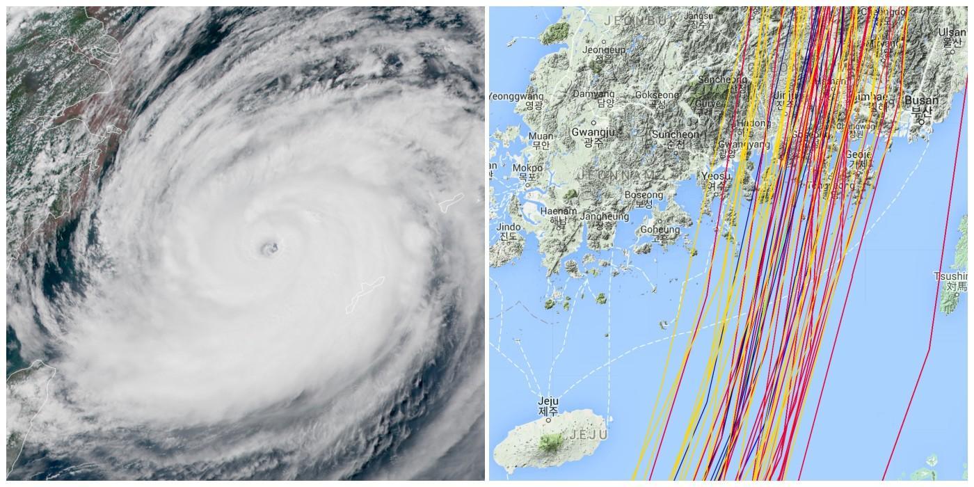 Trajectoire typhon maysak core e du sud