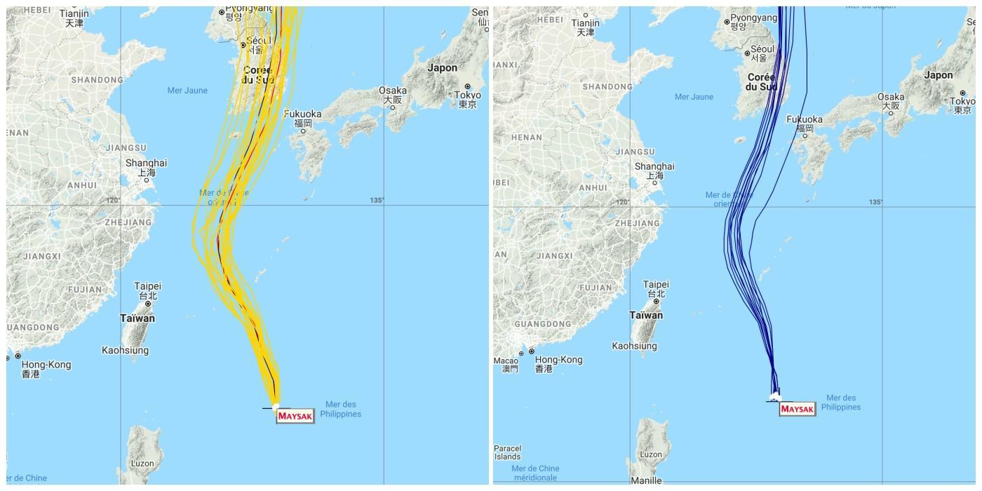 Trajectoire typhon maysak