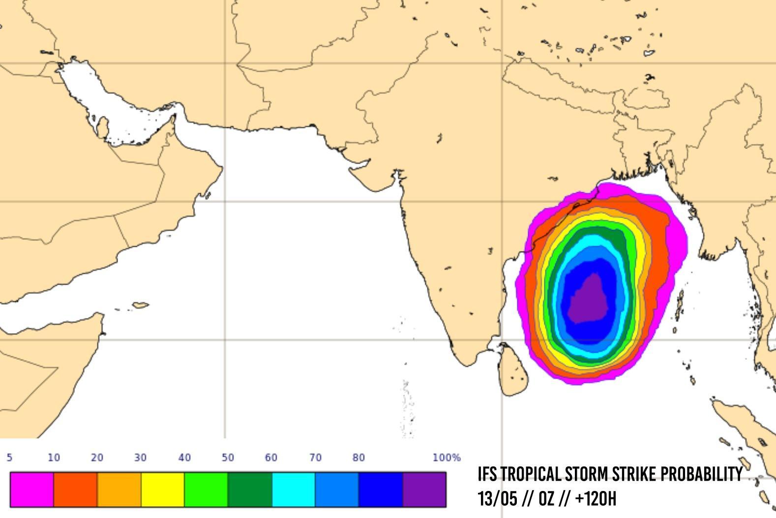 Risque de formation tempête ocean indien