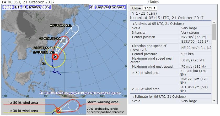 typhon LAN : Point du CMRS de Tokyo à 05:00utc