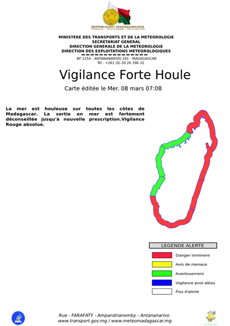 Carte de vigilance forte houle en ce 08/03/2017 (Météo Madagascar)