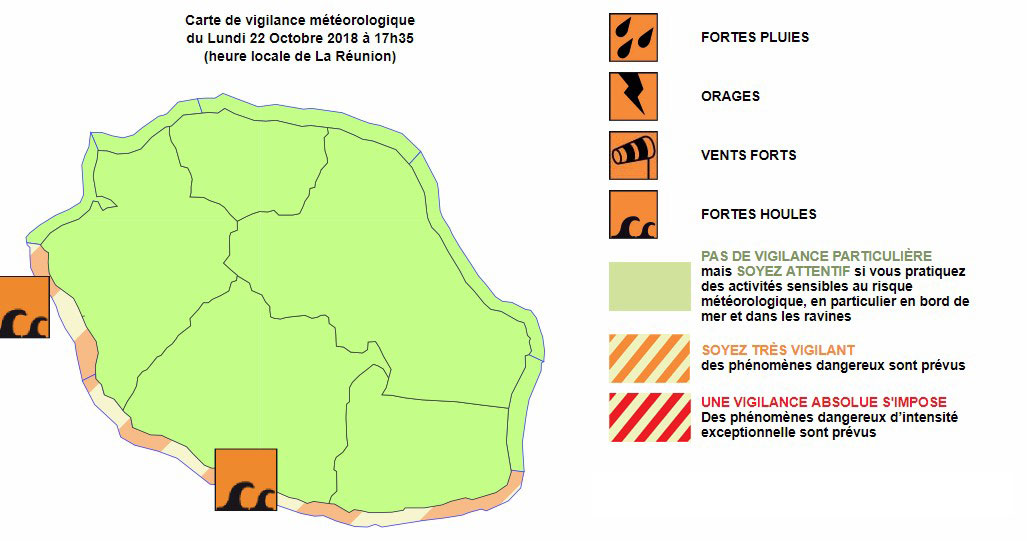 Vigilance forte houle à la Réunion