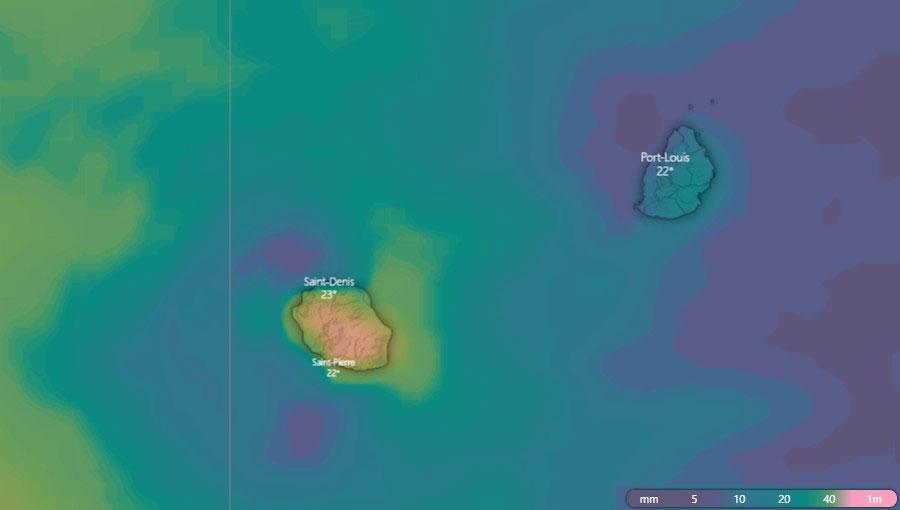 Cumul pluviométrique à la Réunion