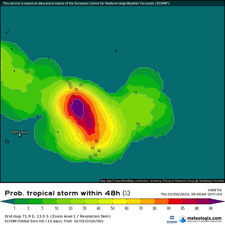 probabilité formation tempête ocean indien