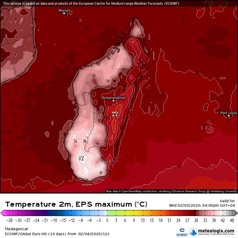 temperature max potentielle Sud de Madagascar