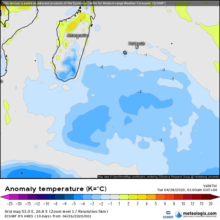 chute des températures dans l'océan indien Sud-Ouest