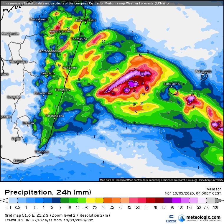 prevision cumul pluviometrique sur 24h IFS la Réunion